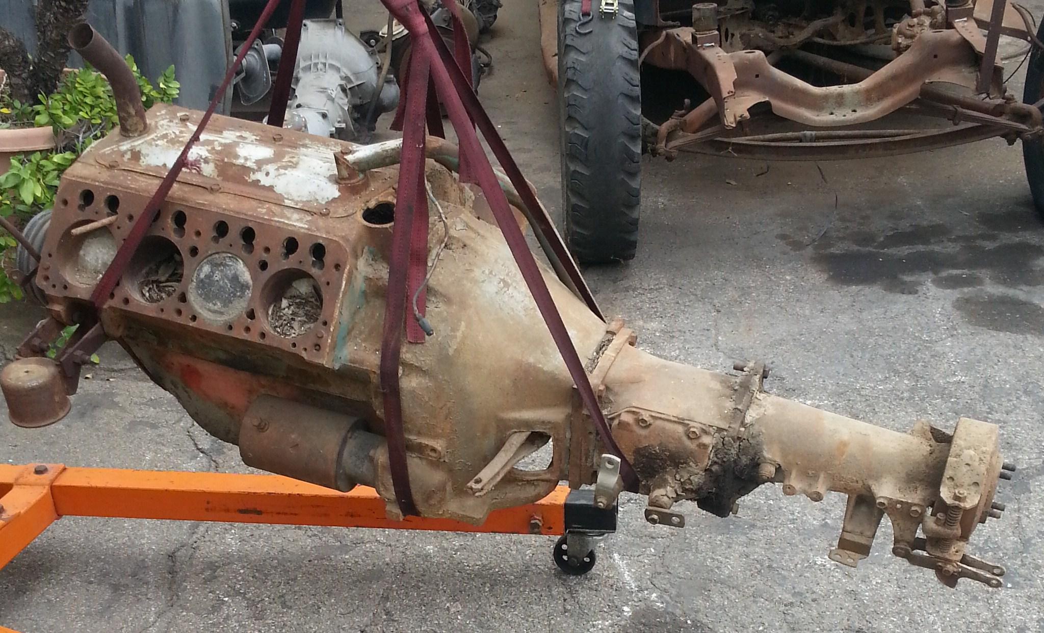 57 Desoto Hemi  U0026 3 Speed Transmission